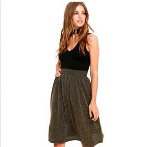 NEW LULUS Size L Walk The Runway Black Gold Skirt